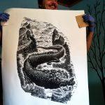 Miha Erič Linorez Art Zavod Orbita Galerija Salsaverde Grafika, Linocut Reliefprint Erič Handmade Linoleum