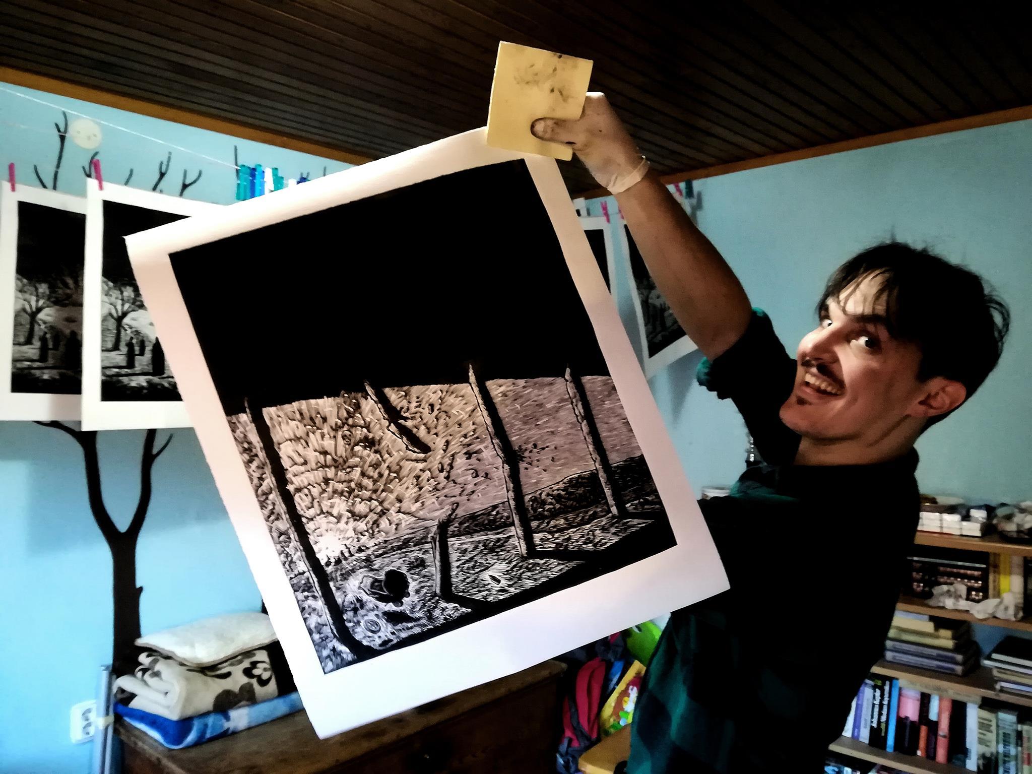 Miha Erič tisk linorez grafika, mednarodni likovni simpozij, likovna kolonija, fine art, grafika, likovna kolonija, umetnost,Erič Miha Art